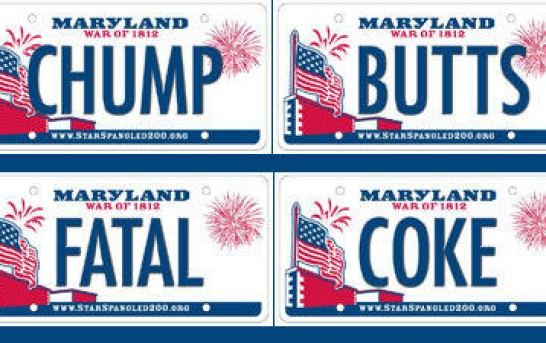 Maryland's blacklist of naughty words banned from vanity plates