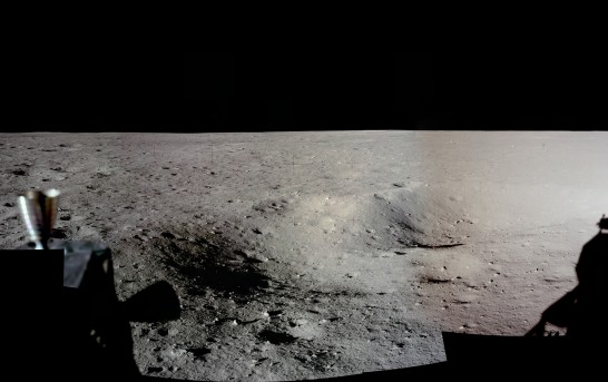 The first picture taken on another world, Neil Armstrong's first moon photo