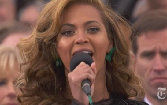 National Anthem lip-synced by Beyonce at inauguration