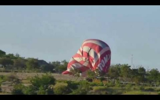 Two hot air balloons collide in the air, sending one crashing to the ground in Turkey