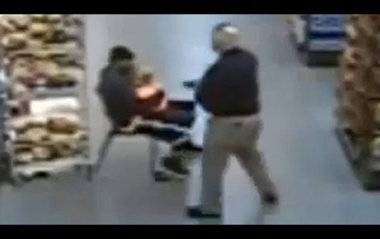 Cop blows away man holding knife to child's throat in grocery store