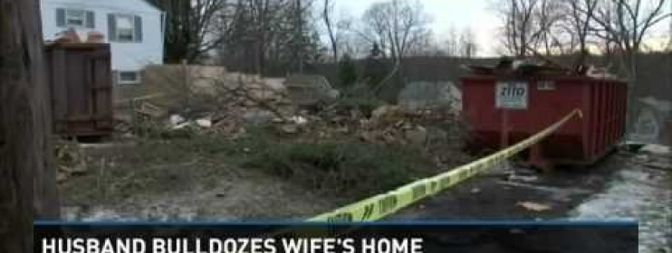 Husband Takes Bulldozer To House Wife Shocked
