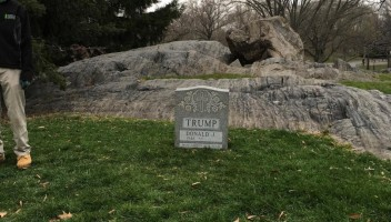 Trump's tombstone removed from Central Park