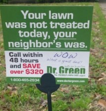 """Lawn care company plants """"lawn shaming"""" sign on man's weed stricken front lawn"""
