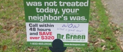 "Lawn care company plants ""lawn shaming"" sign on man's weed stricken front lawn"