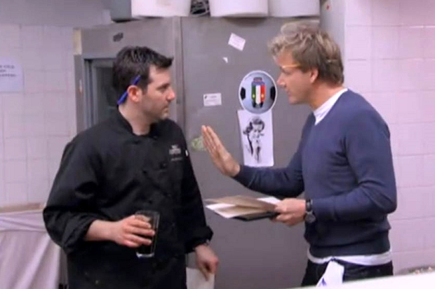 Joseph Cerniglia (left) and Chef Gordon Ramsay.  Photo from FOX Network.