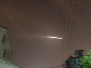 A photo of the alleged UFO over Xiaoshan Airport