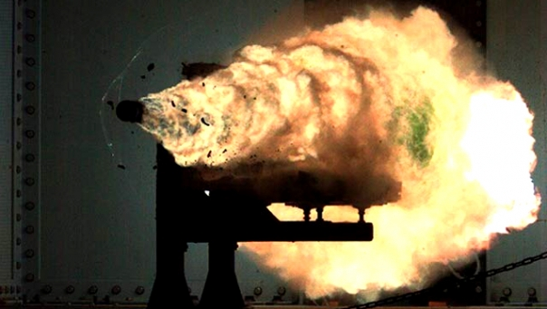 The rail gun could be used to hit targets hundreds of miles away within minutes.