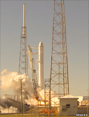 The SpaceX Falcon rocket systems being tested before launch.