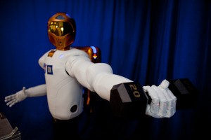 Robonaut 2 surpasses previous dexterous humanoid robots in strength, yet it is safe enough to work side-by-side with humans. It is able to lift, not just hold, this 20-pound weight (about four times heavier than what other dexterous robots can handle) both near and away from its body.