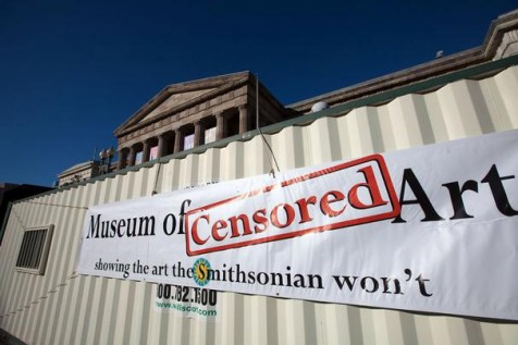 The trailer where the controversial video is being shown after being censored by the Smithsonian.