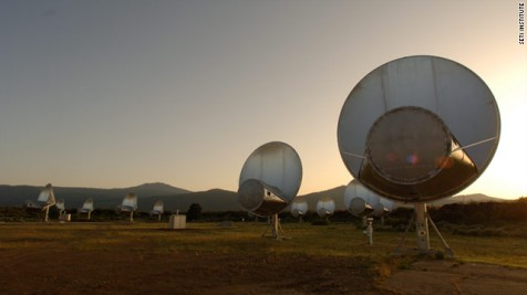 The 42 SETI Radio telescopes are 300 miles north of San Francisco in the Cascade Mountains.  Each telescope is pointed at a different area of the sky to search for alien radio signals.