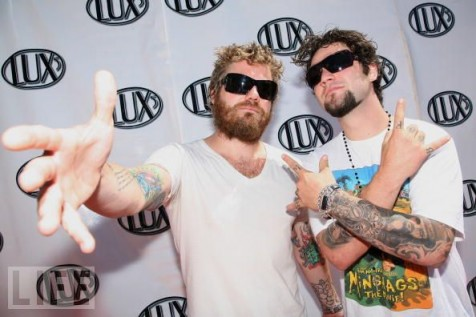 Ryan Dunn (L) and Bam Margera attend the Lux5 Gumball 3000 Orange County Rally at the Hilton Waterfront Beach Resort on August 10, 2008 in Huntington Beach, California.