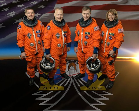 Attired in training versions of their shuttle launch and entry suits, these four astronauts take a break from training to pose for the STS-135 crew portrait. Pictured are NASA astronauts Chris Ferguson (center right), commander; Doug Hurley (center left), pilot; Rex Walheim and Sandy Magnus, both mission specialists.