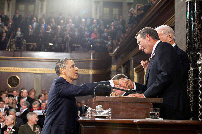 President Obama shaking hands with Speaker of the House republican John Boehner shortly after the 2010 midterm elections where Republicans took back the majority in the House of Representatives and gained seats in the U.S. senate.(Pete Souza)