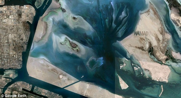 Google Maps shows Hamad's name carved into his private island in Abu Dhabi (FROM GOOGLE EARTH).