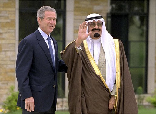 King Abdullah and U.S. President George W. Bush.