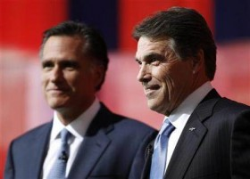 Romney and Perry together at the debate.  Both are front runners for the Republican presidential nomination.