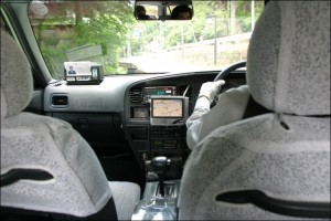 A Japanese Taxi with GPS system.