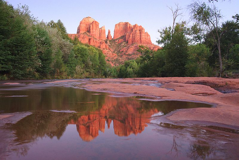 Cathedral Rock in Sedona AZ. The area attracts millions of tourists a year and is known for its scenic beauty.