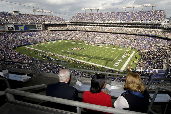 M&T Bank Stadium in Baltimore MD.  The Ravens have been playing here since 1998 with seating capacity of 71,008.
