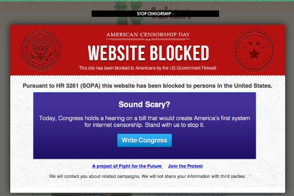 If SOPA is passed, you might see something like this when visiting your favorite website.