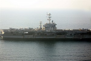 The U.S. aircraft carrier Stennis has withdrawn to the Sea of Oman after the U.S. said it will not allow Iran to disrupt oil shipping in the Persian Gulf.