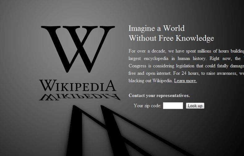 This is what visitors will see when they visit Wikipedia today.