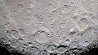 The star shaped structure in the crater can be seen at the bottom of the picture near the moon's south pole.