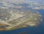 Philadelphia International Airport bordering the Delaware River.