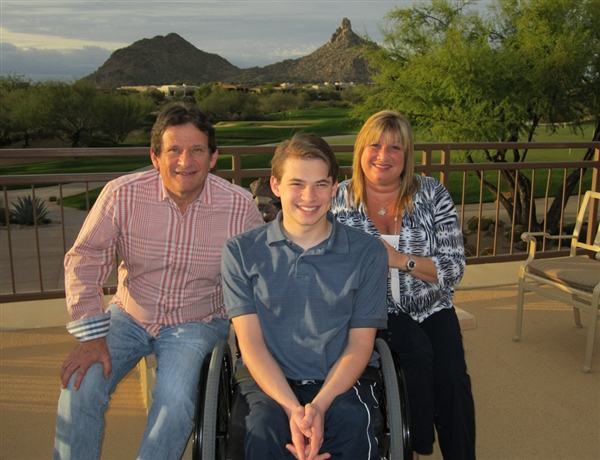 Sawyer Rosenstein with father, Joel, and mother, Cheri, in Scottsdale Ariz., in 2011.