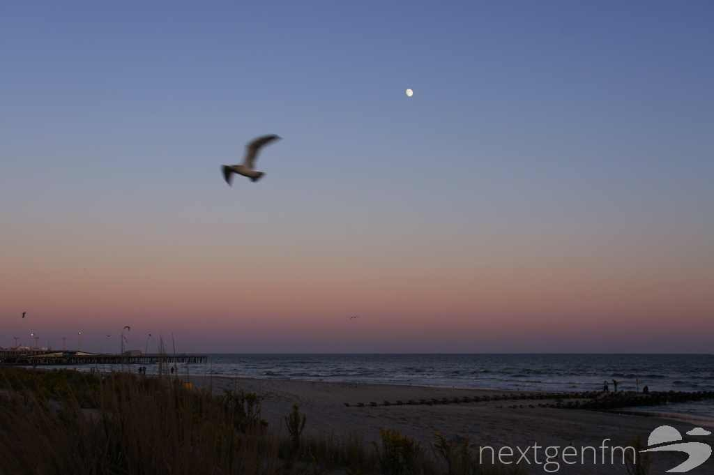 The moon rises over Atlantic City in late October. Photo by Geoff Filipiak.