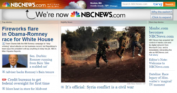 MSNBC.com's logo is now NBCNEWS.com.  The new design took effect Sunday July 15.