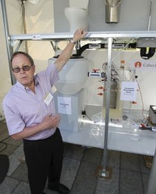 Pro Michael Hoffman shows off his winning solar powered toilet