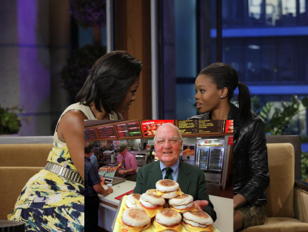 Michelle Obama chastising Olympic gold medalist Gabby Douglas for eating an Egg McMuffin on Jay Leno's Tonight Show