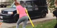 Girl takes a shovel to the head like a champ