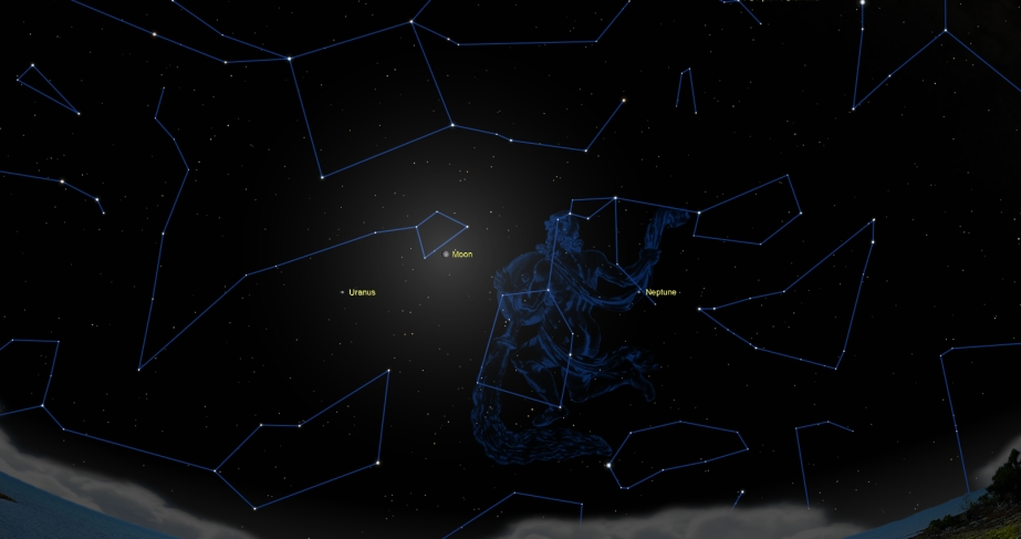 If you look in the southern sky, you'll see Uranus below the Great Square of Pegasus next to a faint star.