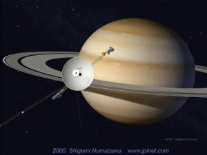 Artist interpretation of Voyager 1 and Saturn.