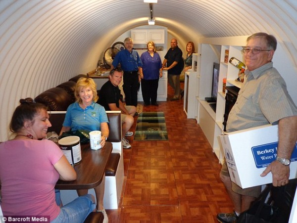 Ron Hubbard has built a luxurious underground bomb-proof shelter in Montebello, California, with a leather sofa, plasma TV and wooden flooring - just in case the Mayans' predictions come true.