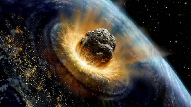 Artist David A. Hardy shows an artist conception of an asteroid collision with Earth.