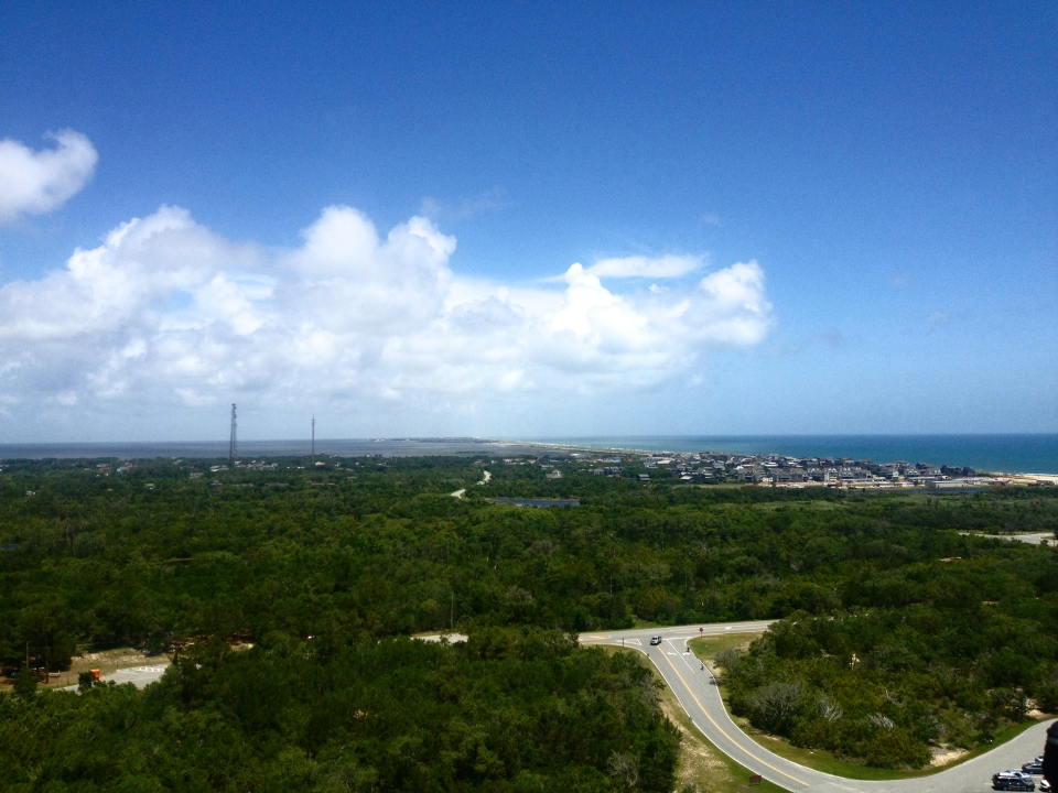 A view from the top of Cape Hatteras lighthouse.  You can enjoy a 360 degree panoramic view and see where ocean currents collide.