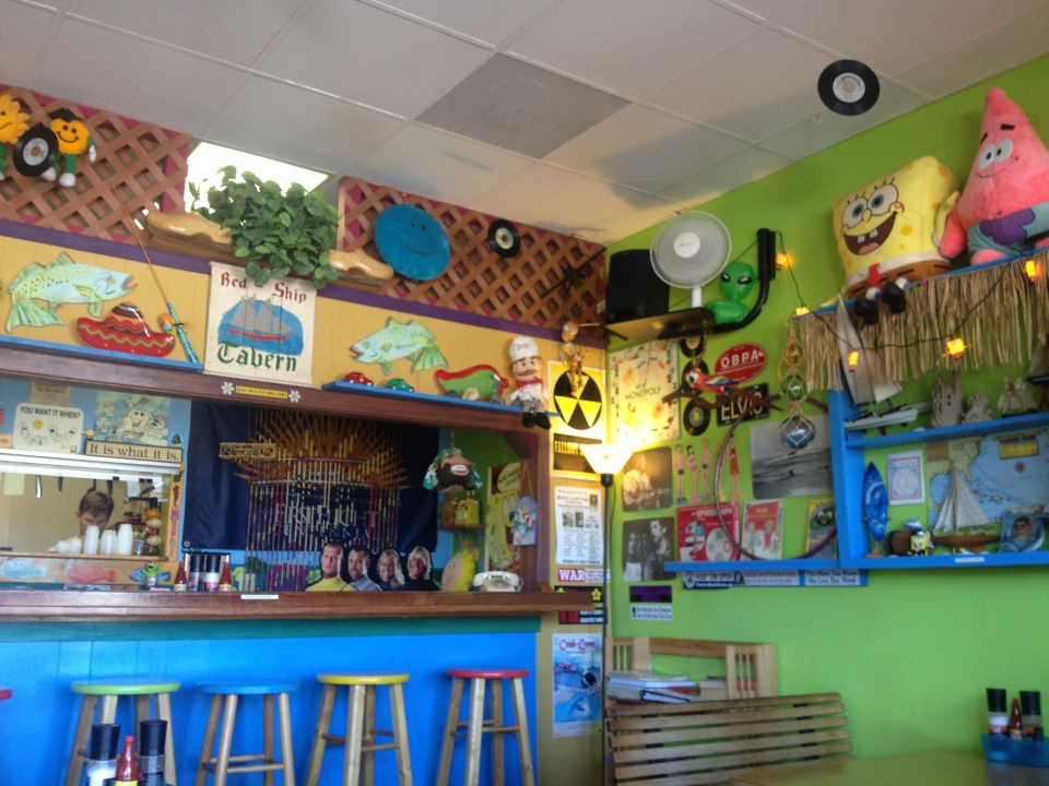 The never dull interior of Buxton Munch, best tacos on the island.