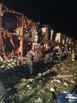 Photo from Twitter showing houses destroyed by blast.