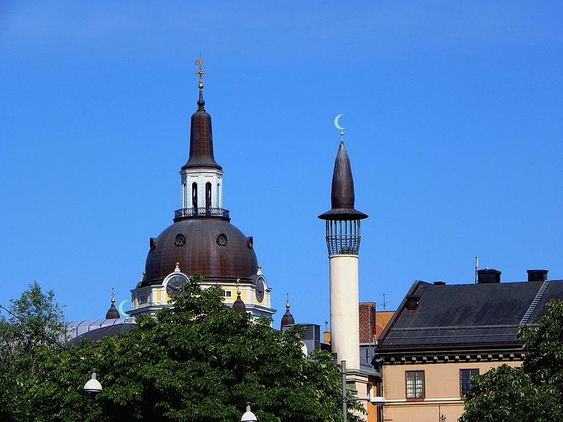 Katarina Church and the minaret of the Stockholm Mosque.