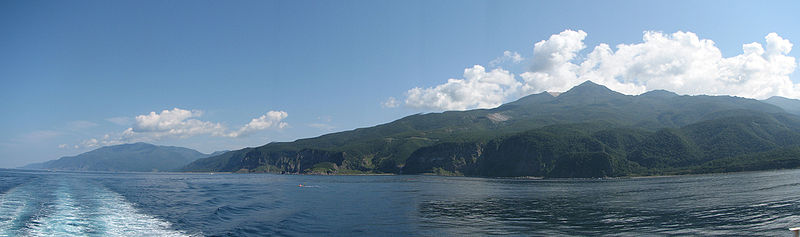 A view of Shiretoko National Park from Sea of Okhotsk in Japan.