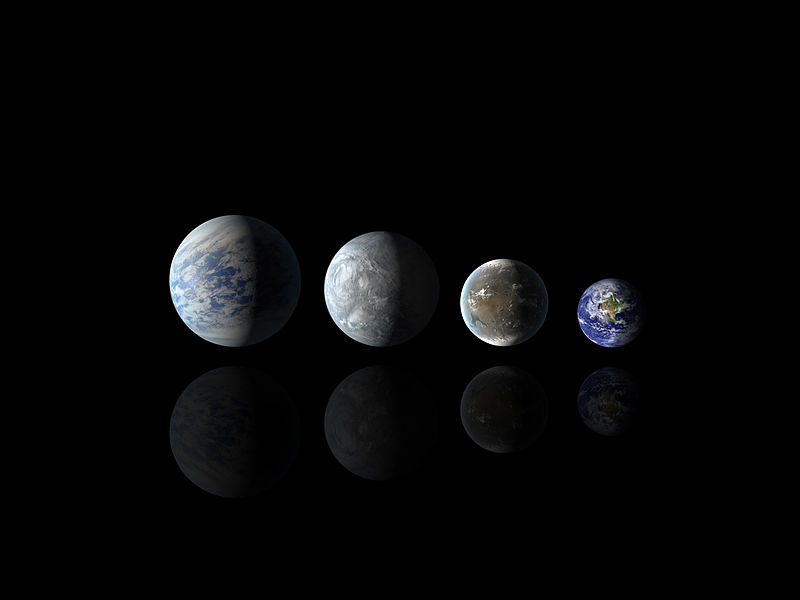 Illustration from NASA comparing the size and composition of the two exo-planets with Earth.