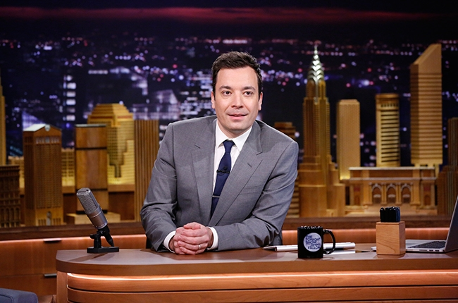 The redesigned set on the new The Tonight Show features a wood hand carved Manhattan skyline backdrop. Courtesy NBC Comcast