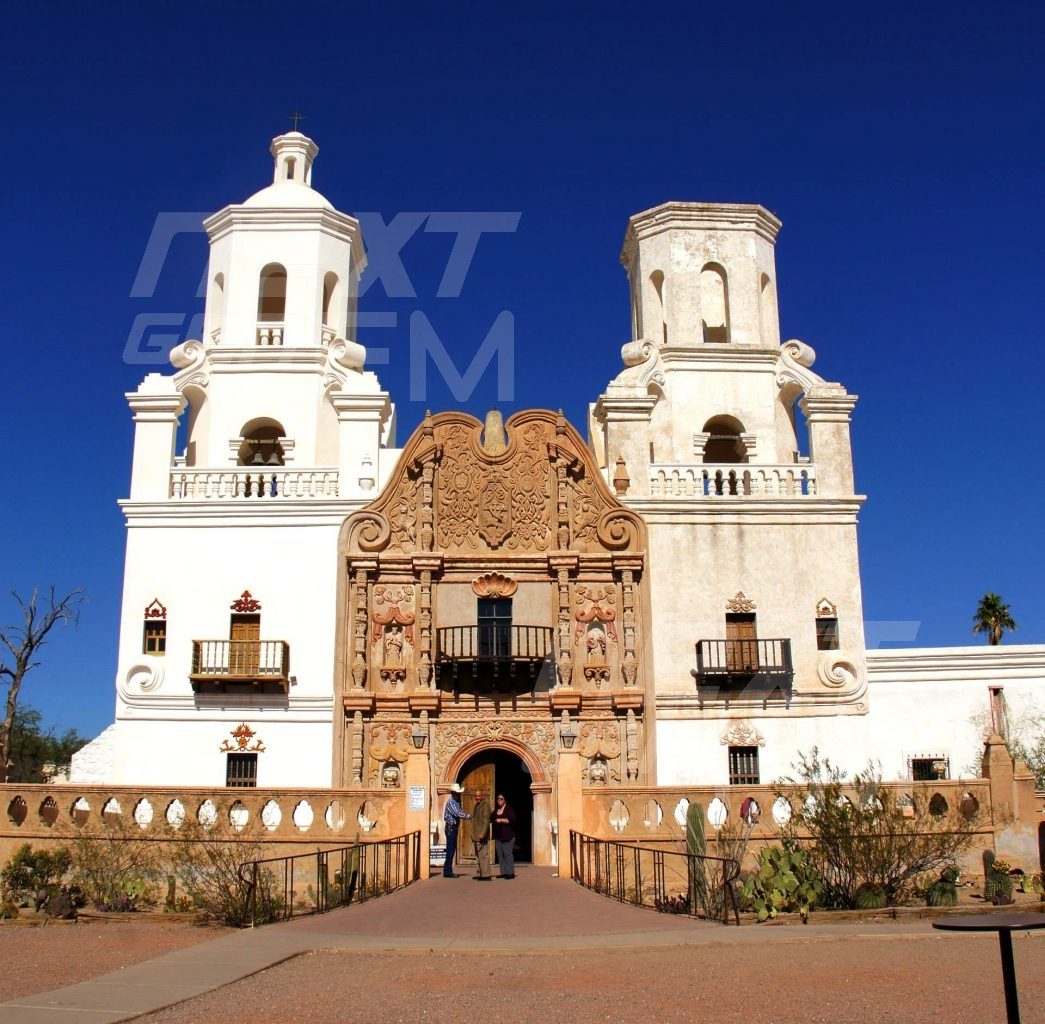 Renovations are ongoing to keep the church in glorious condition for the many visitors and pilgrims.  The front of the mission faces Mexico to the south. The mission's beautiful white exterior would have been the first sight many pilgrims traveling north would have seen coming out of the desert.