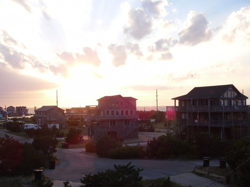 A sunset over Avon on the Outer Banks of North Carolina where tropical storm Arthur is expected to become a hurricane going into Thursday.