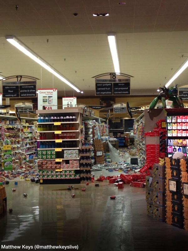 Photo of damage done to a Safeway from @matthewkeyslive